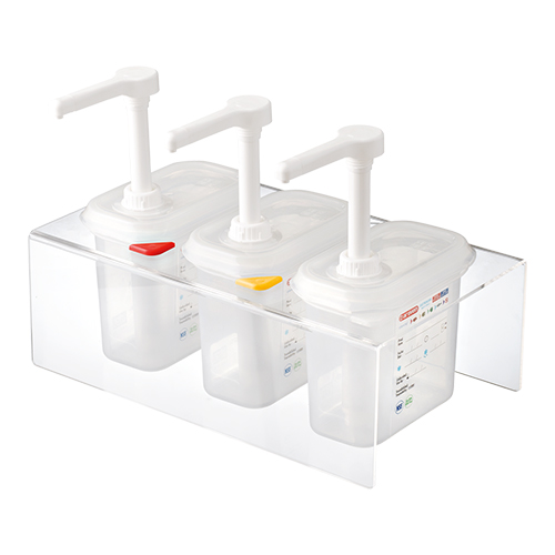 3 transparente saus dispensers