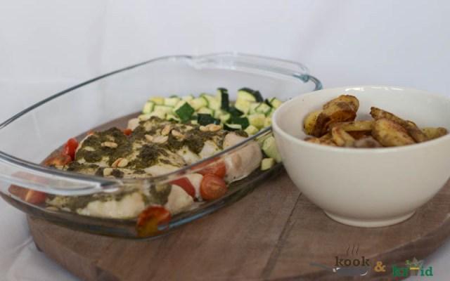 Kipfilet pesto met aardappels en courgette