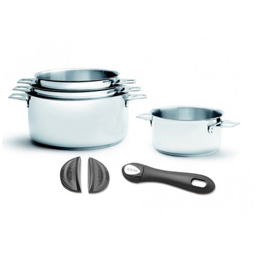 set 4 casseroles inox twisty poignee anses
