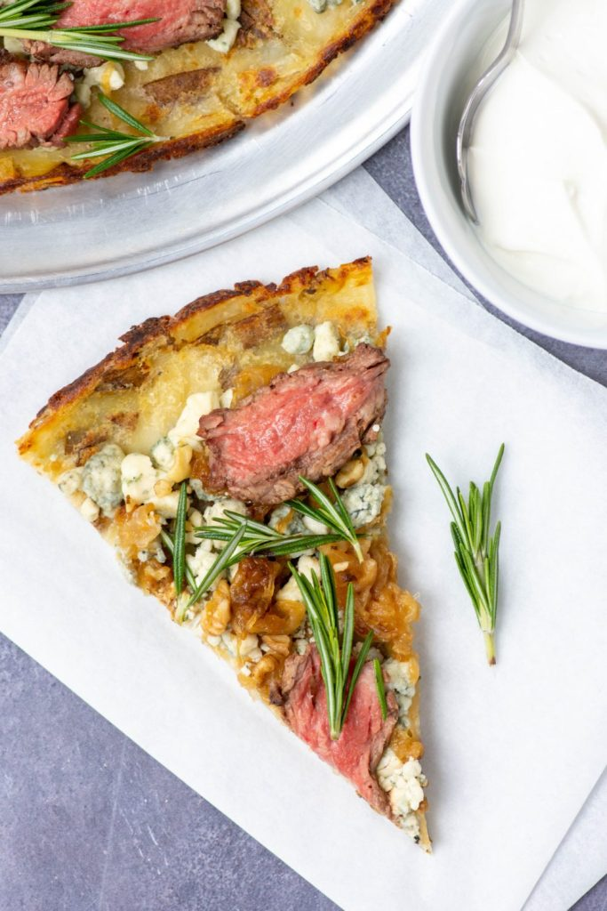 RUSSET POTATO PIZZA CRUST with beef, blue cheese, and rosemary