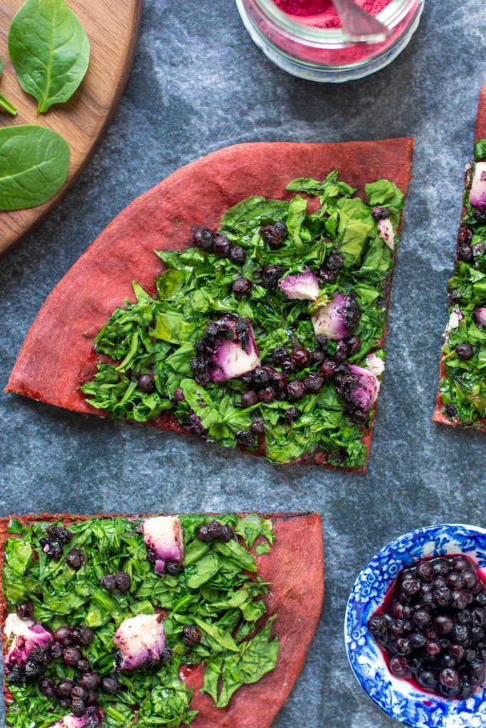 BEET PIZZA CRUST with Spinach, Goat Cheese, and Blueberries