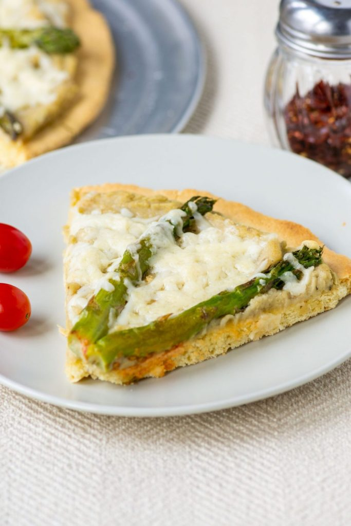 QUCK PALEO PIZZA CRUST with White Bean Puree, Asparagus, and Asiago