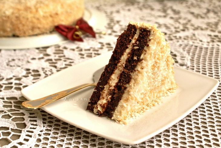 Chocolate cake with almond frosting and coconut