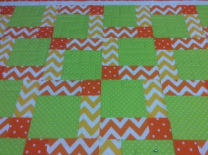 Jan Nowland orange and green quilt
