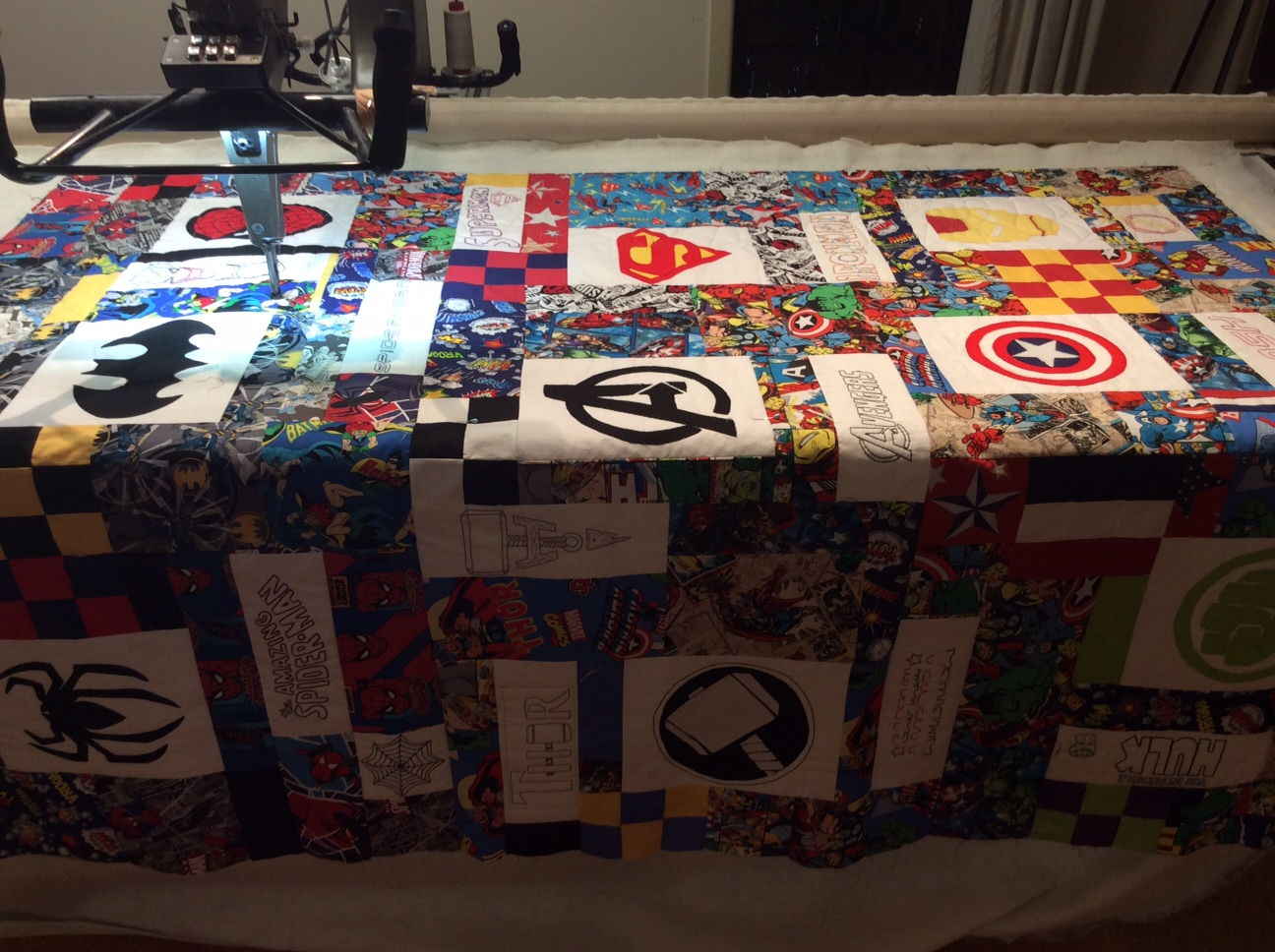 Superheroes Quilt Features Spiders E2e Pattern Koolkat Quilting
