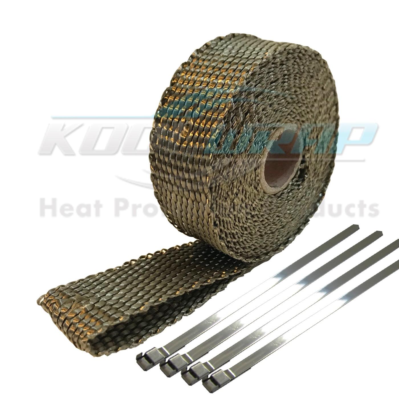 kool wrap titanium basalt exhaust wrap 4 s less ties 4 5m x 25mm x 1 5mm