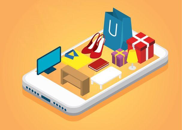 cep telefonu üzerinden online alışveriş illustrasyon