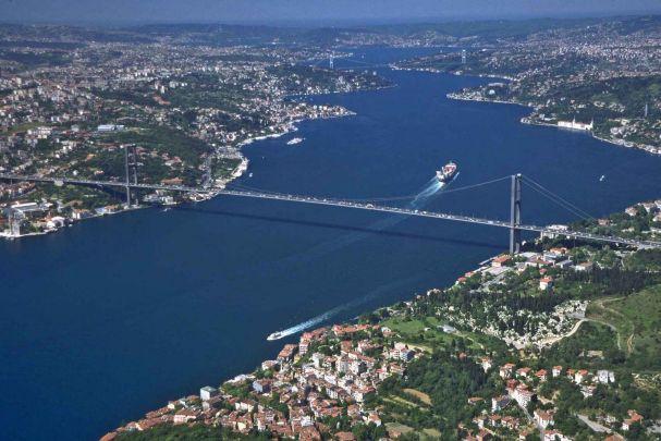 Vodafone istanbul maratonu boğaz köprüsü kuş bakışı görüntü