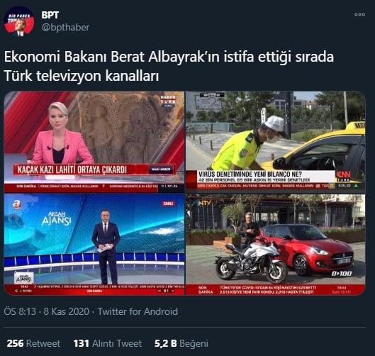berat albayrak istifası sonrası televizyonlar