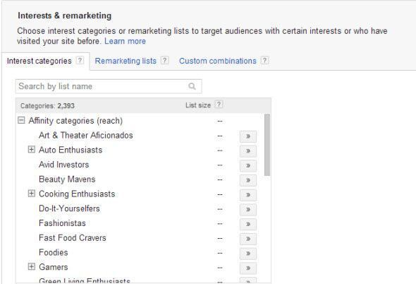 Interest Categories Using google adwords to find the right audience