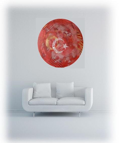 Gemälde Redmoon Von KooZal   Acrylbilder Und Collagen Mischtechniken