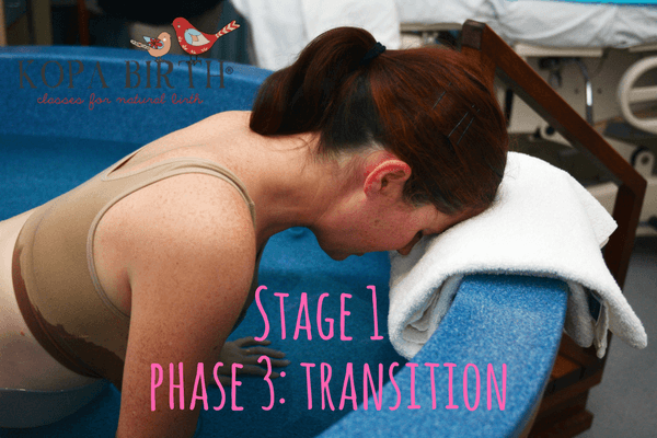 What are the three stages of labor - stage 1 - transition