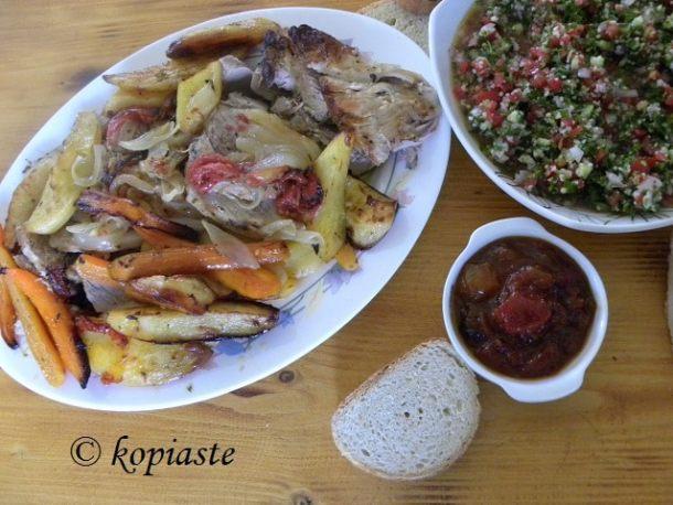 Pork Pstio roast with tambouli tabbouleh and tomato chutney