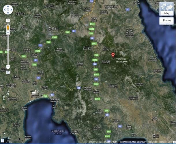 χάρτης Πάρνωνα Βαμβακού Καρυές εικόνα