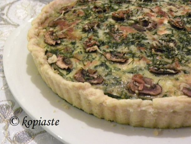 Spinach and Mushroom Tart with Buffalo cheese and butter