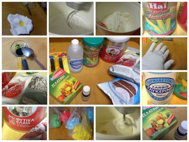 Collage ingredients for sugarpaste