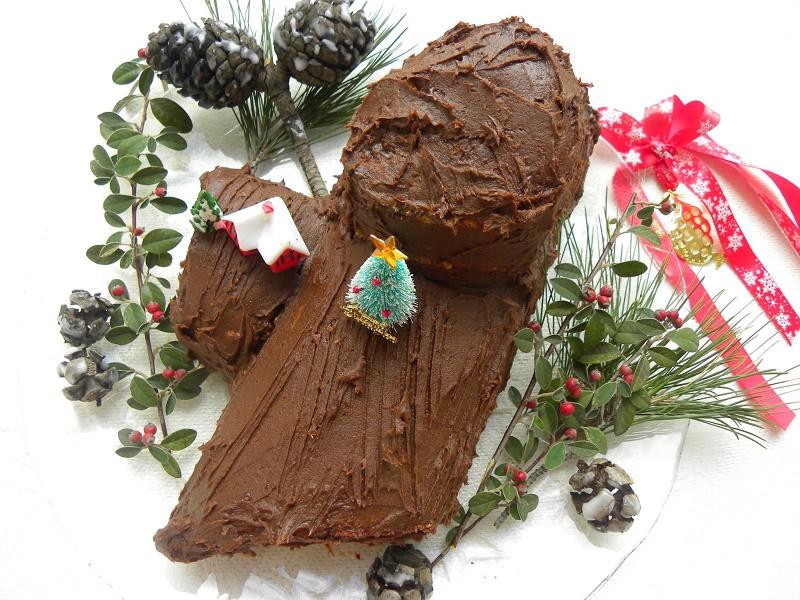 Χριστουγεννιάτικος Κορμός με Χαρουπόμελο (Yule log)