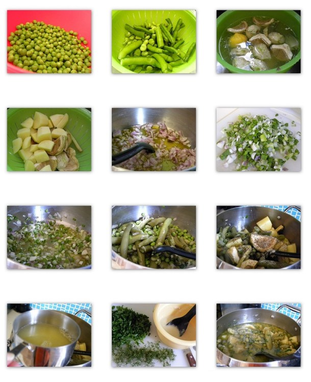 Κολάζ κουκιά φρέσκα με αγκινάρες, πατάτες και αρακά εικόνα