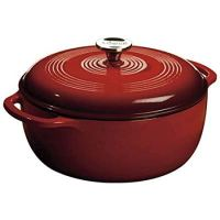 Lodge 6 Quart Enameled Cast Iron Dutch Oven. Classic Red Enamel Dutch Oven with Self Basting Lid . (Island Spice Red)