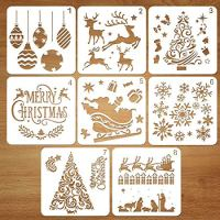 Coogam 8 Pcs Christmas Stencils Template - Reusable Plastic Craft for Art Drawing Painting Spraying Window Glass Door Car Body Wood Journaling Scrapbook Holiday Xmas Snowflake DIY Decoration 5x5 inch