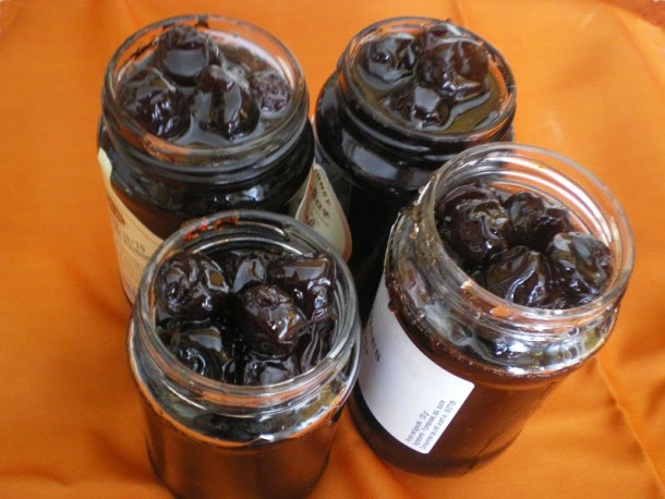 Sour cherries in jars image