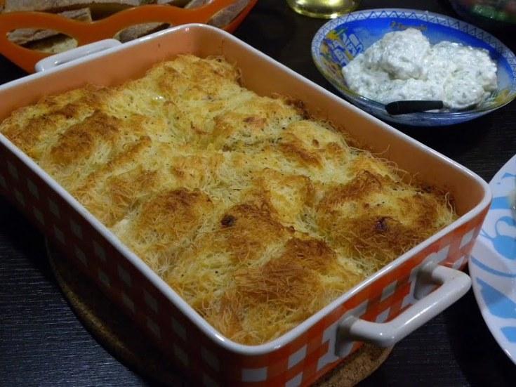 Tyropita with Kataifi, Feta and Four Cheeses