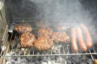 beef burgers and sausages image