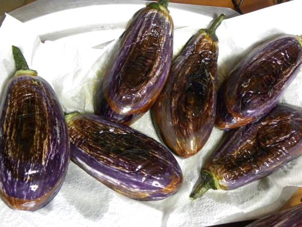 Eggplants on kitchen paper