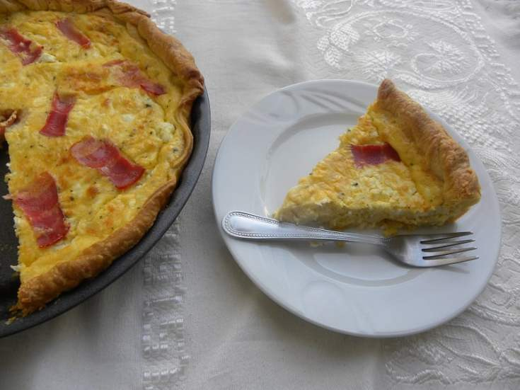 Greek-style Feta and Graviera Quiche with Bacon