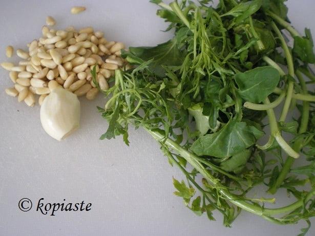 making pesto with watercress image