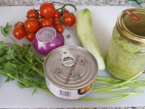 Ingredients for beans with oregano pesto