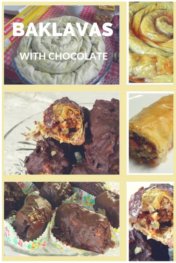 collage Baklavas with Chocolate image