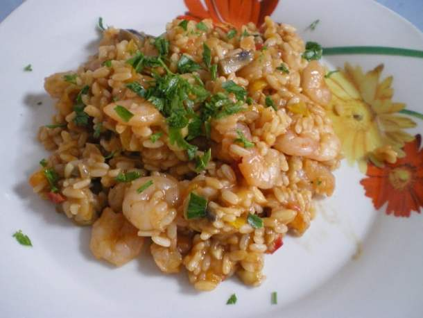 risotto with shrimps and veggies