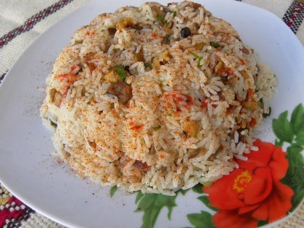 Festive rice pilaf with mushrooms image