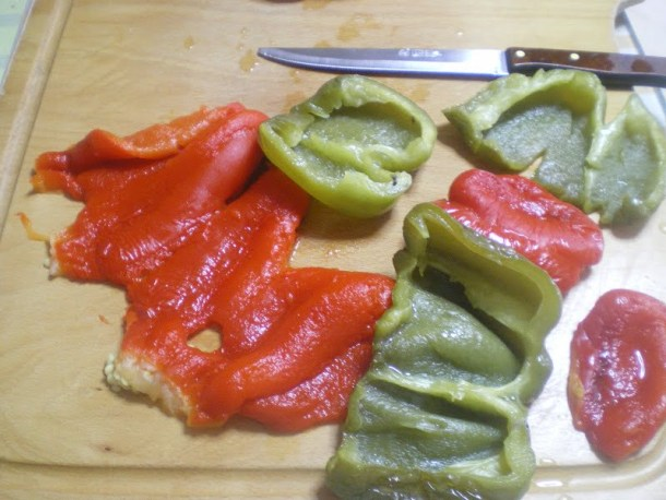red and green roasted peppers image