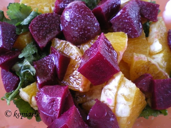 beetroot salad with rocket and oranges