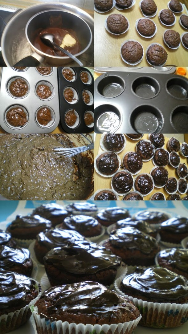collage vegan chocolate cupcakes