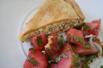 watermelon salad and tyropita image