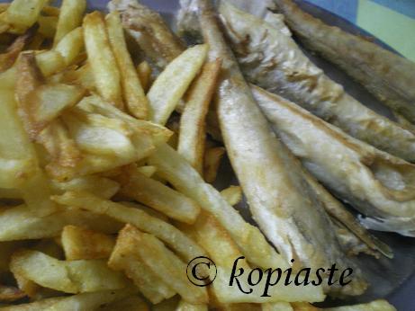 Bakaliaros (cod) and fried potatoes