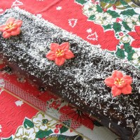 Christmas Chocolate Wafer Coconut Roulade