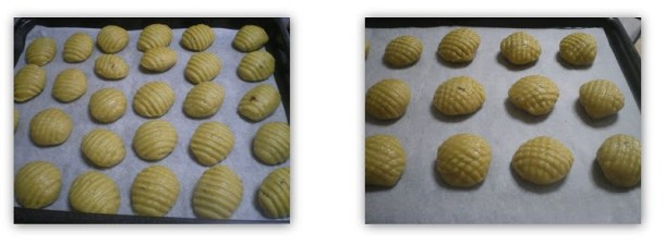 collage Melomakarona with chocolate before baking image