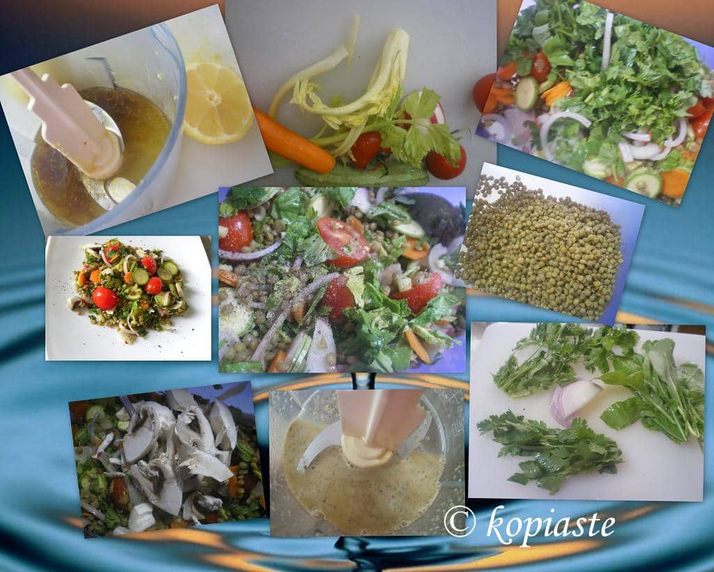 collage lentil salad