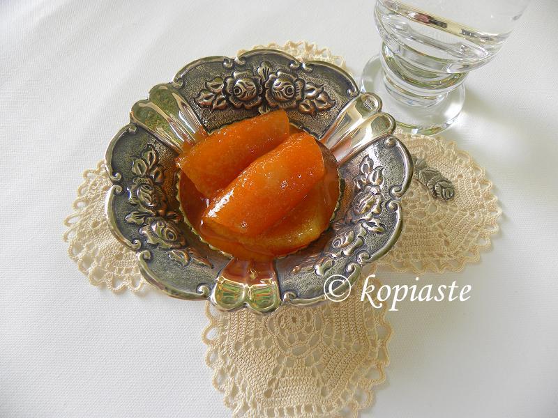 Orange fruit preserve on handmade crochet image