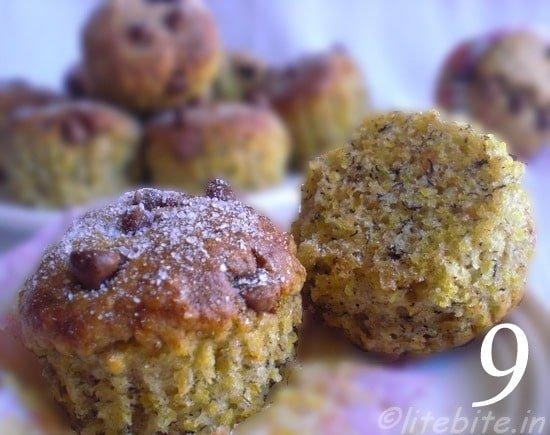 9 banana wheatgerm muffins, by Sanjeeta