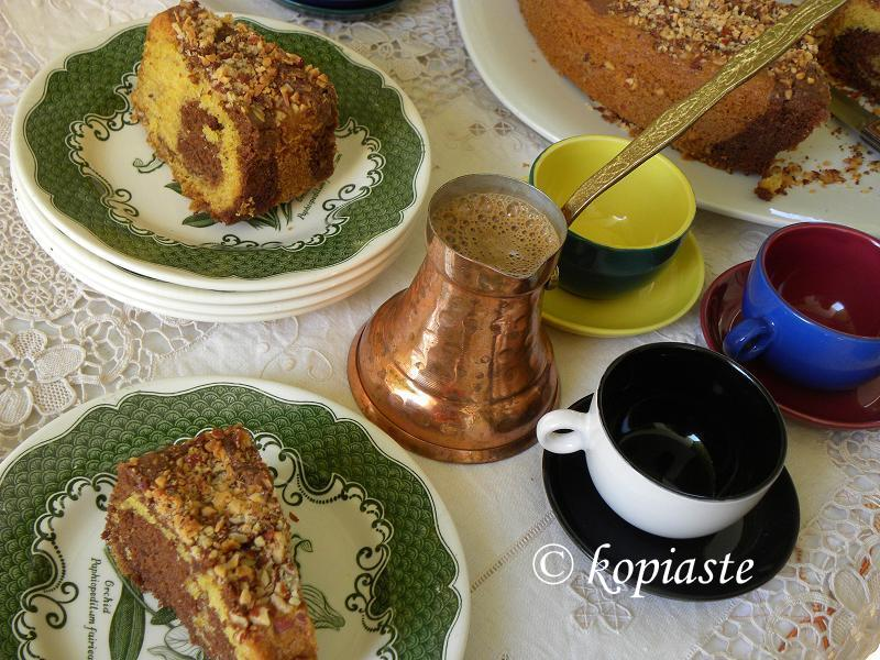 Marbled cake with Greek coffee image