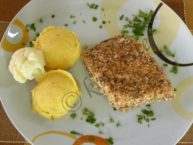 Pumpkin puree with Crusted Salmon marked