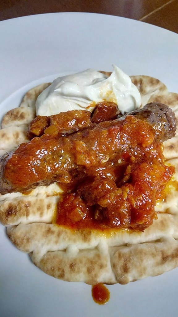 Kebab served with spetzofai image