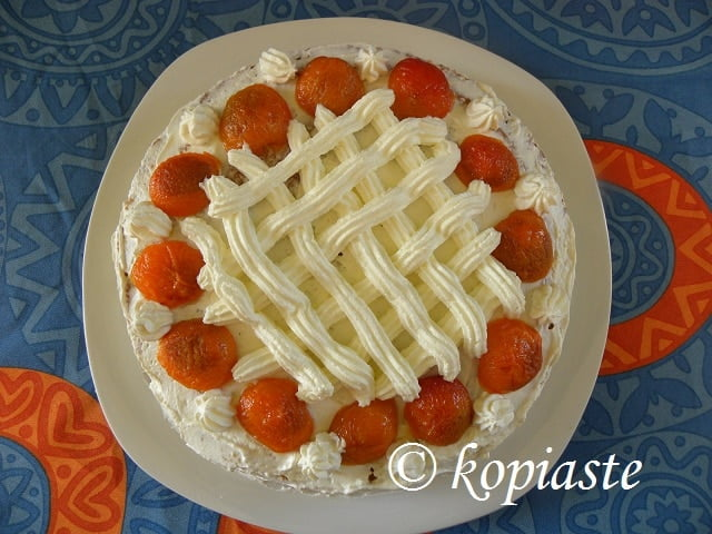 Cake with Caramelized Peppermint Apricots - A Taste of Yellow