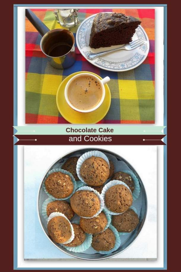 Collage Chocolate cake and cookies image