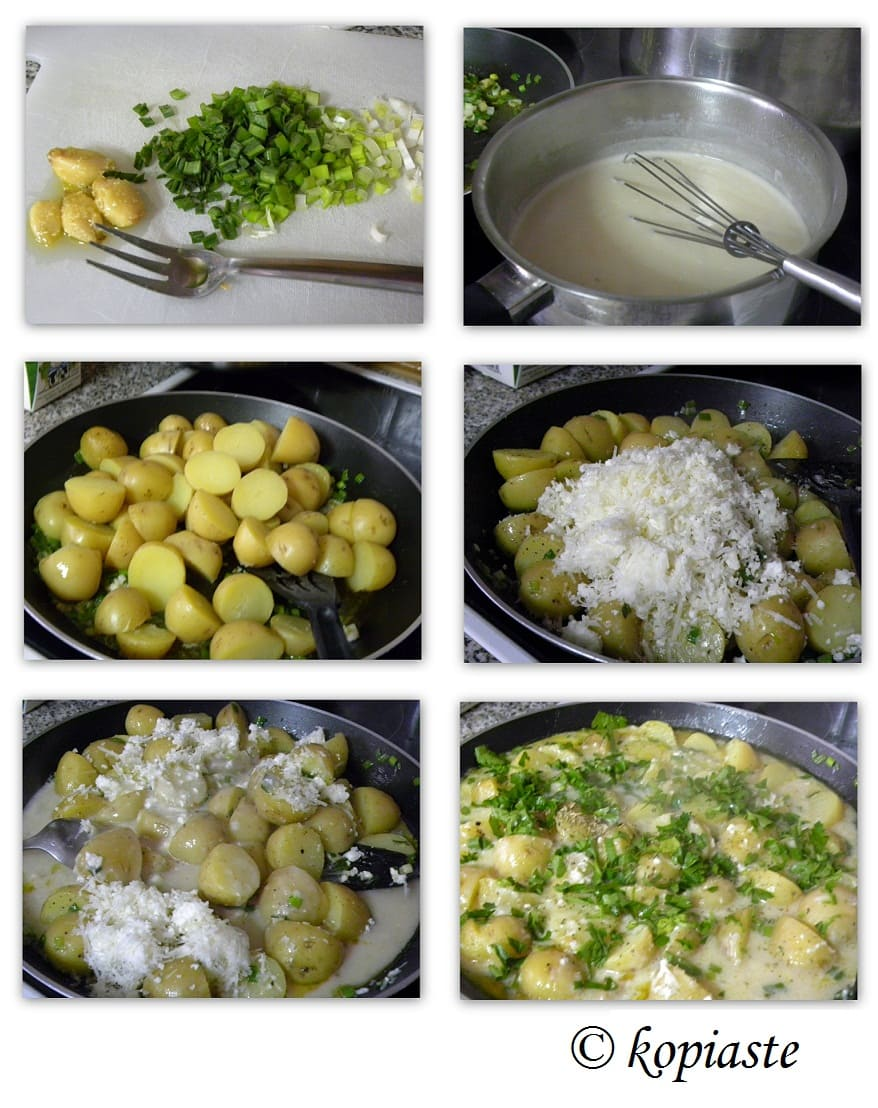 Collage Baby Potatoes with feta and herbs